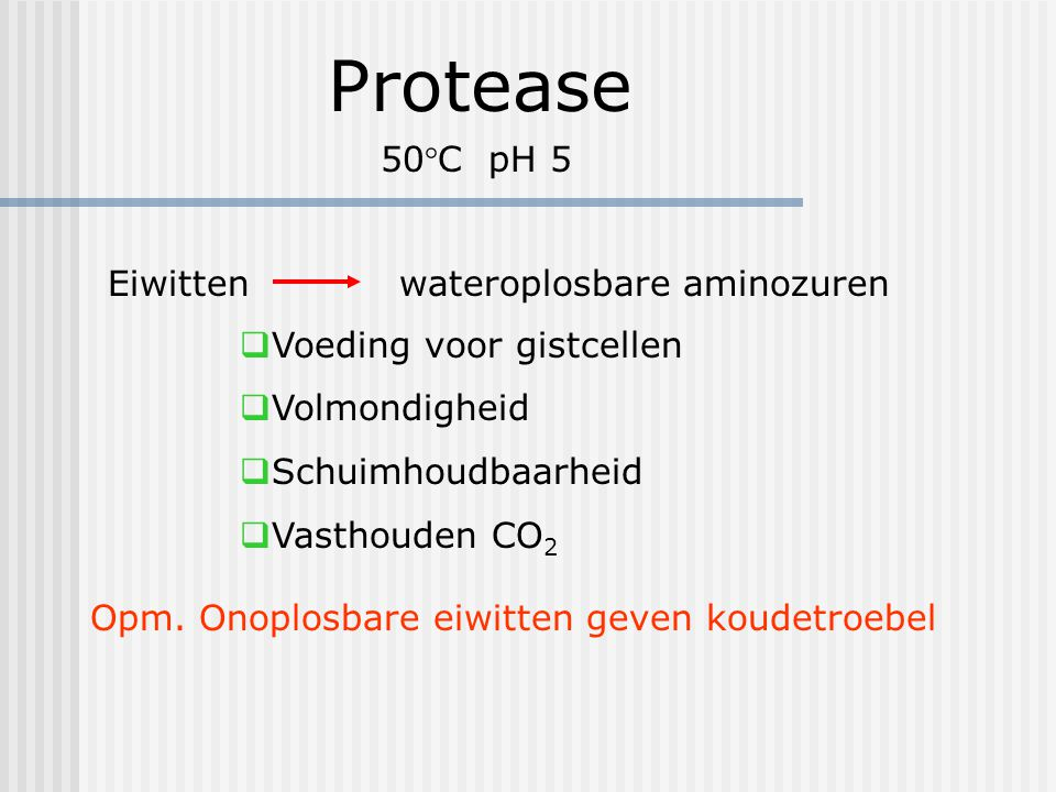 Protease 50°C pH 5 Eiwitten wateroplosbare aminozuren