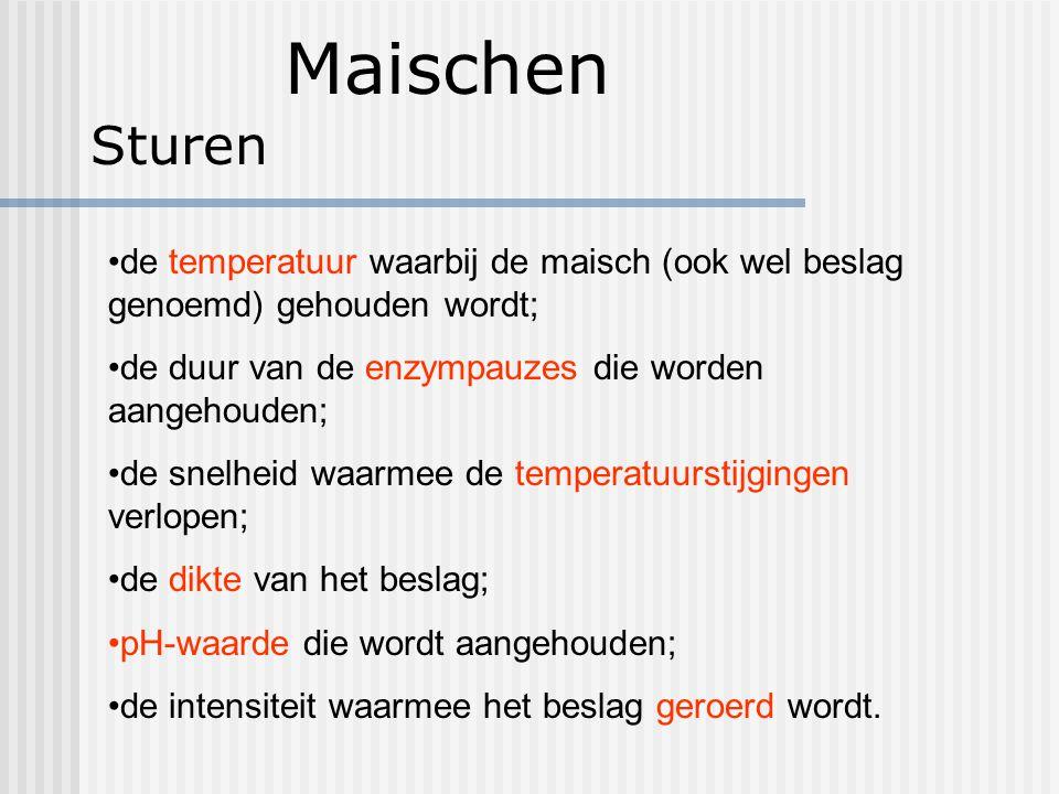 Maischen Sturen. de temperatuur waarbij de maisch (ook wel beslag genoemd) gehouden wordt; de duur van de enzympauzes die worden aangehouden;