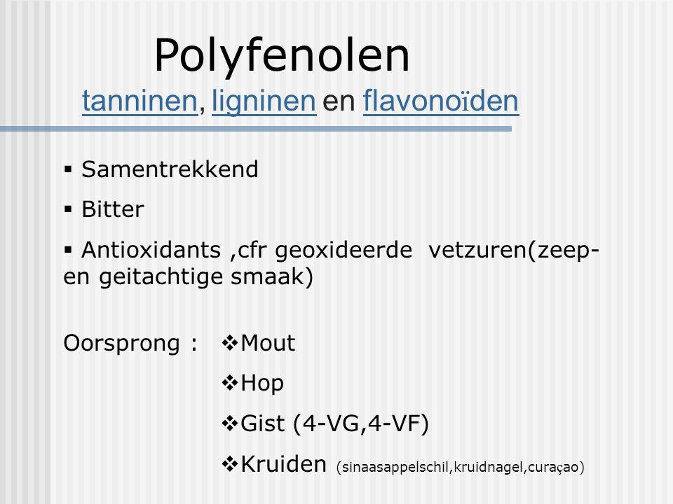 Polyfenolen tanninen, ligninen en flavonoïden Samentrekkend Bitter