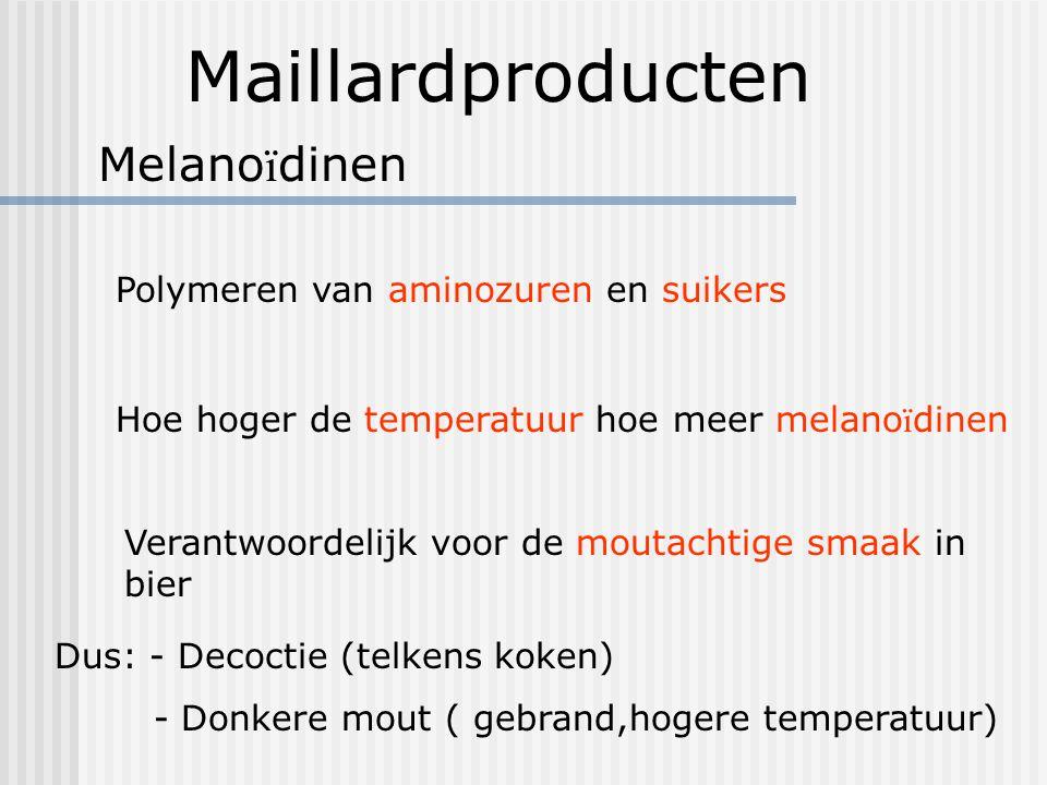 Maillardproducten Melanoïdinen Polymeren van aminozuren en suikers