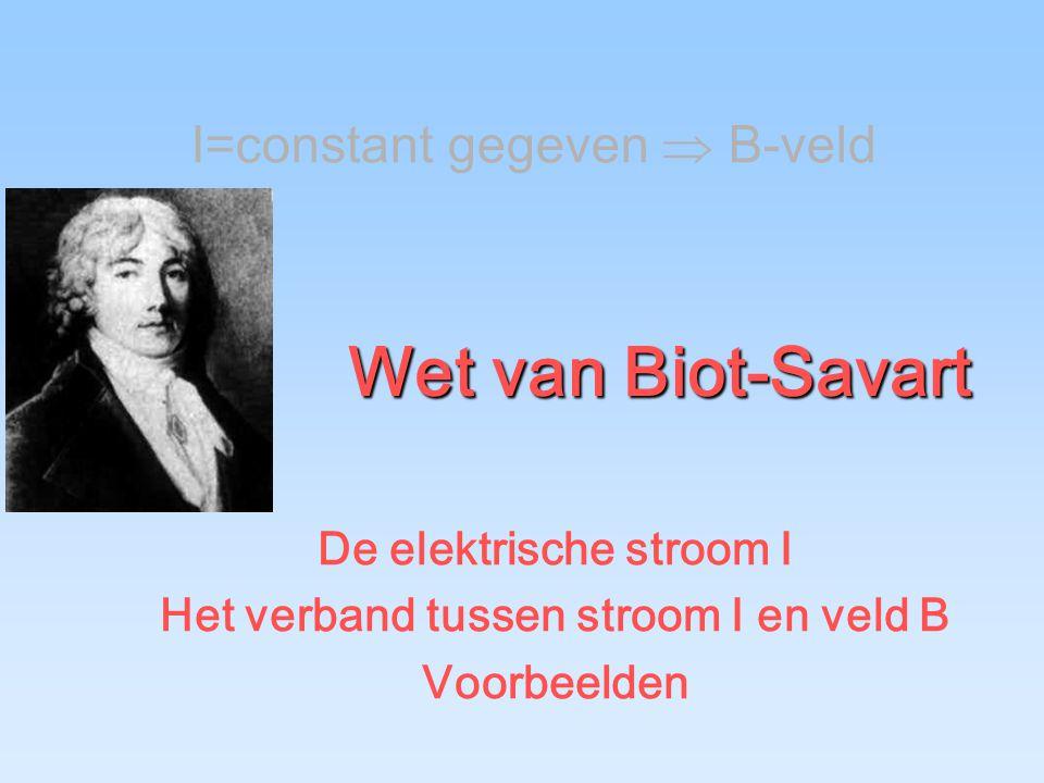 De elektrische stroom I Het verband tussen stroom I en veld B
