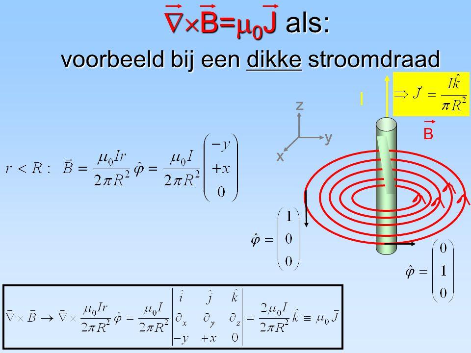 B=0J als: voorbeeld bij een dikke stroomdraad