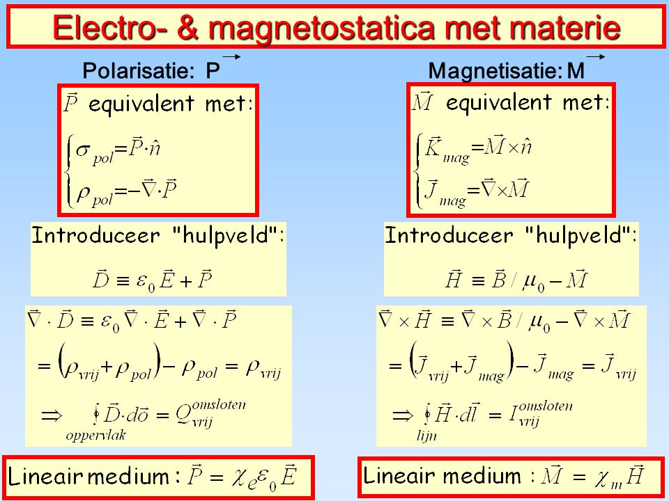 Electro- & magnetostatica met materie