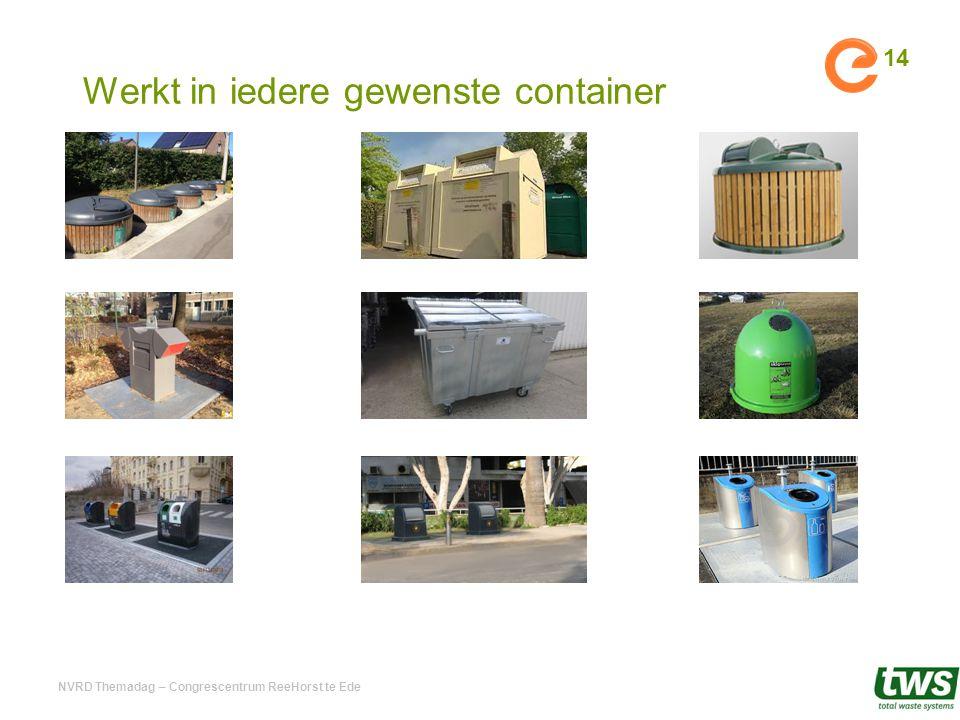Werkt in iedere gewenste container