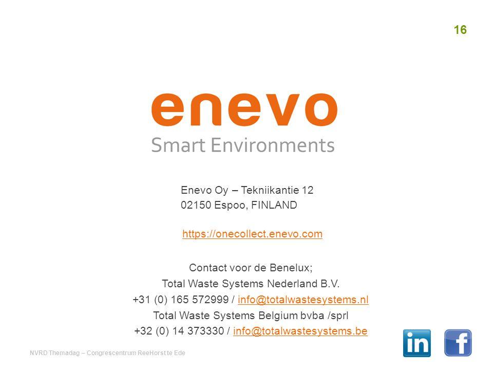 Enevo Oy – Tekniikantie 12 02150 Espoo, FINLAND