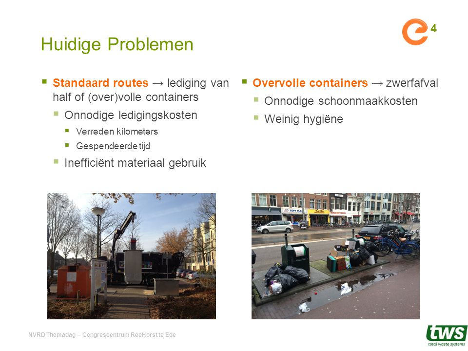 Huidige Problemen Standaard routes → lediging van half of (over)volle containers. Onnodige ledigingskosten.
