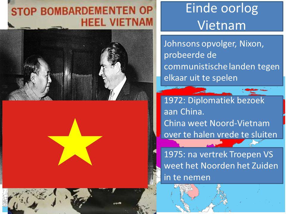 Einde oorlog Vietnam Johnsons opvolger, Nixon, probeerde de communistische landen tegen elkaar uit te spelen.