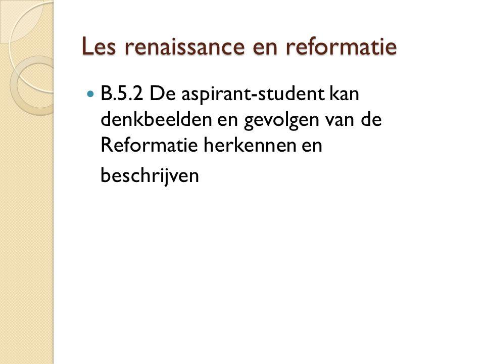 Les renaissance en reformatie