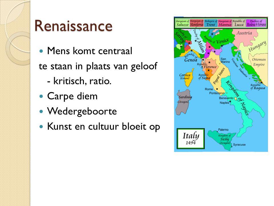 Renaissance Mens komt centraal te staan in plaats van geloof