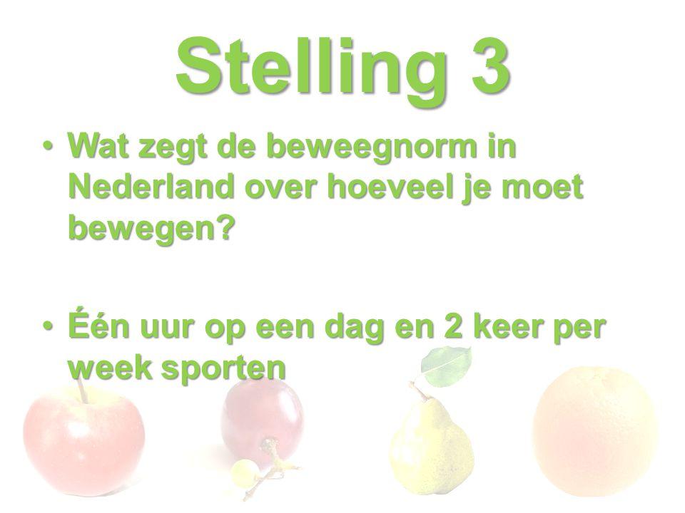 Stelling 3 Wat zegt de beweegnorm in Nederland over hoeveel je moet bewegen.