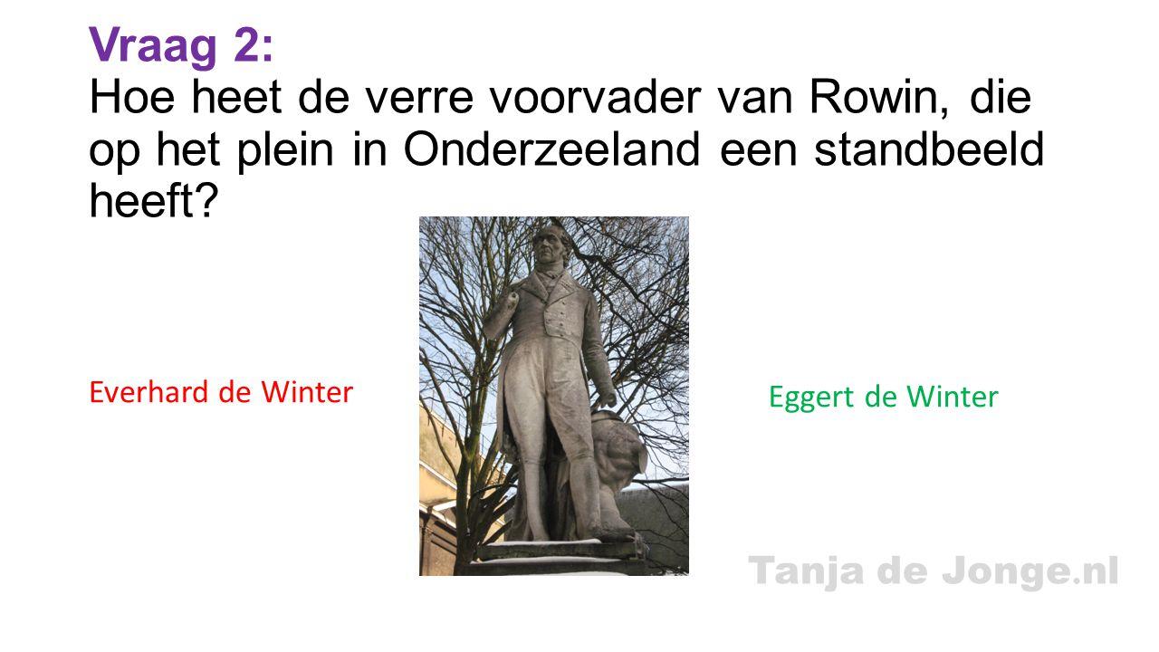 Vraag 2: Hoe heet de verre voorvader van Rowin, die op het plein in Onderzeeland een standbeeld heeft