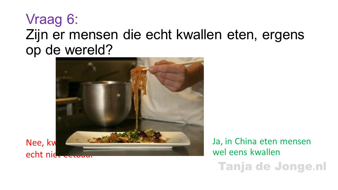 Vraag 6: Zijn er mensen die echt kwallen eten, ergens op de wereld