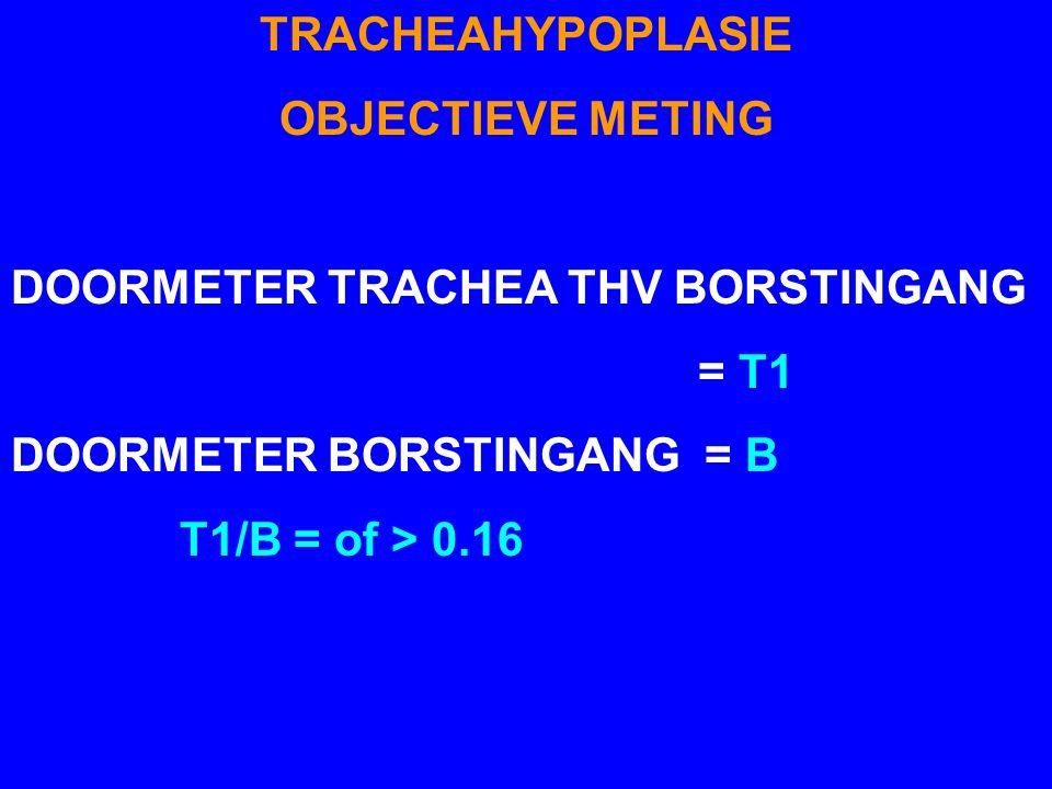 TRACHEAHYPOPLASIE OBJECTIEVE METING. DOORMETER TRACHEA THV BORSTINGANG. = T1. DOORMETER BORSTINGANG = B.