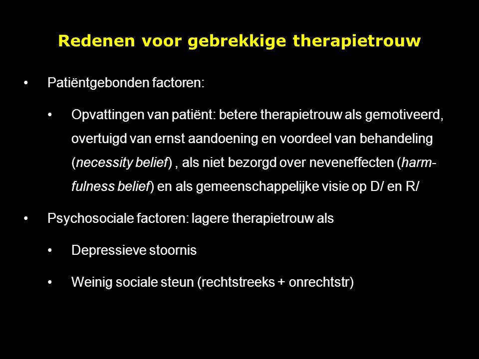 Redenen voor gebrekkige therapietrouw
