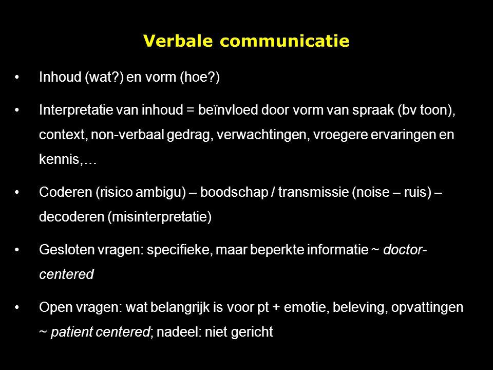 Verbale communicatie Inhoud (wat ) en vorm (hoe )