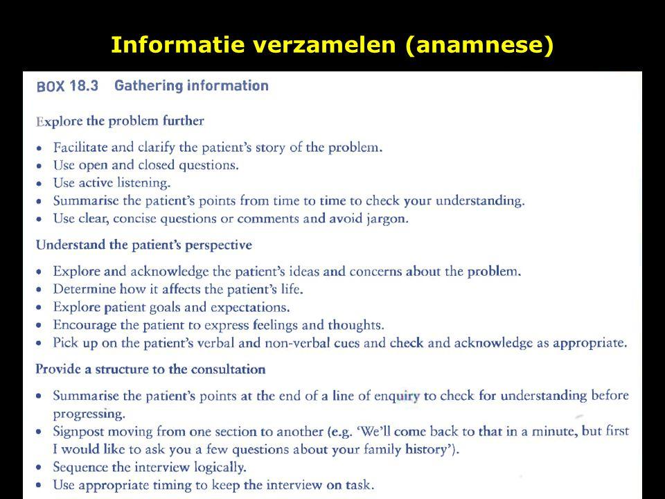 Informatie verzamelen (anamnese)