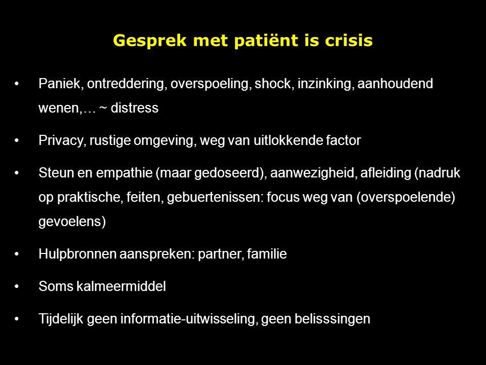 Gesprek met patiënt is crisis