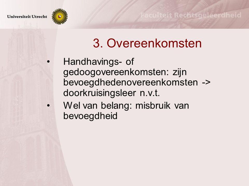 3. Overeenkomsten Handhavings- of gedoogovereenkomsten: zijn bevoegdhedenovereenkomsten -> doorkruisingsleer n.v.t.
