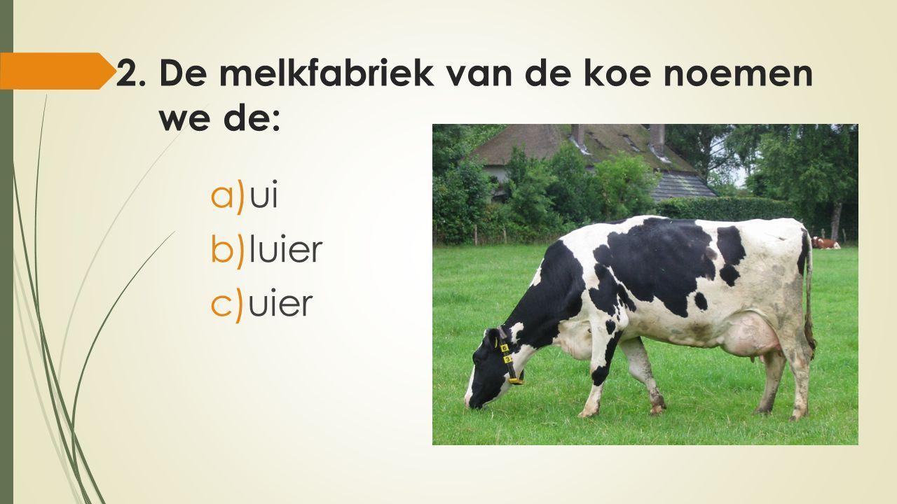 2. De melkfabriek van de koe noemen we de: