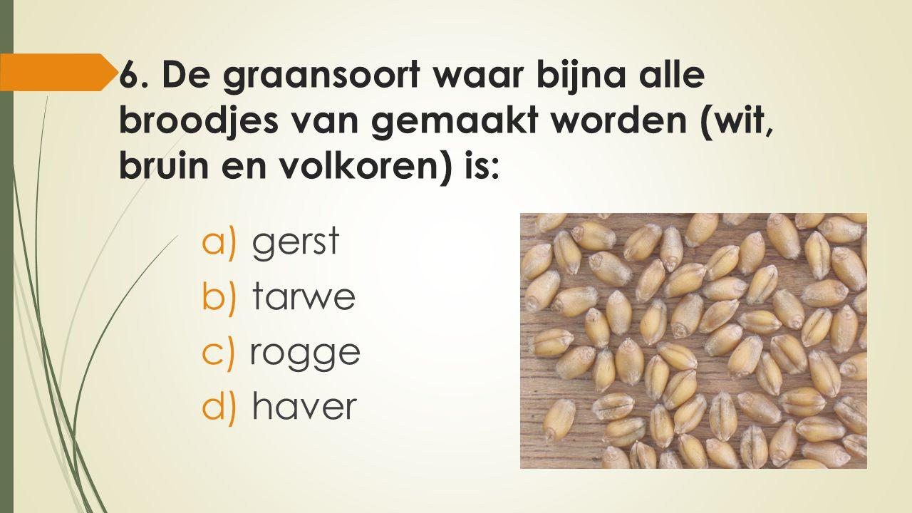 6. De graansoort waar bijna alle broodjes van gemaakt worden (wit, bruin en volkoren) is: