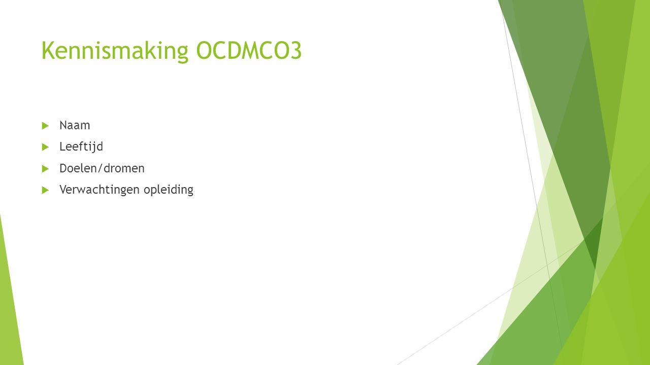Kennismaking OCDMCO3 Naam Leeftijd Doelen/dromen