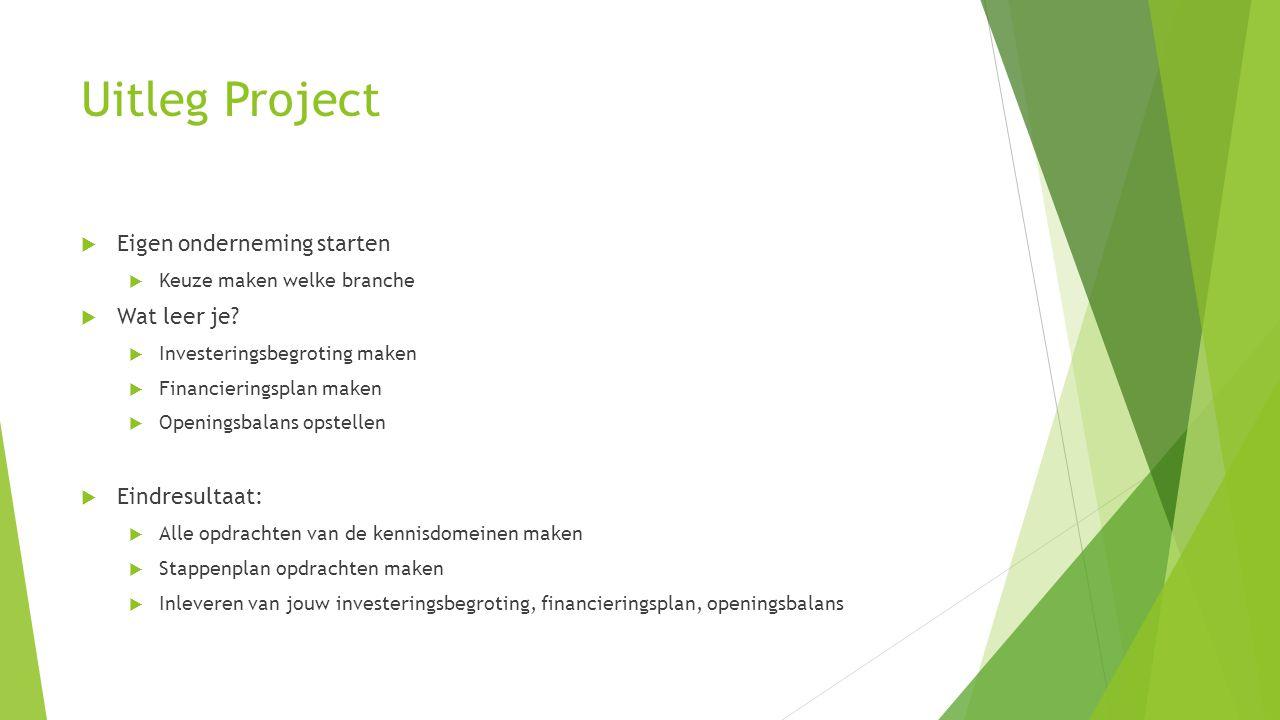Uitleg Project Eigen onderneming starten Wat leer je Eindresultaat: