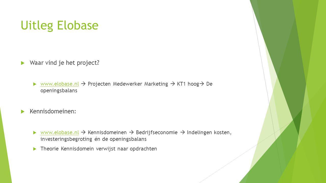 Uitleg Elobase Waar vind je het project Kennisdomeinen: