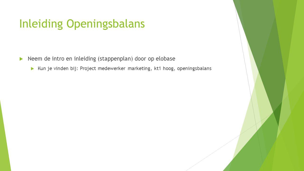Inleiding Openingsbalans