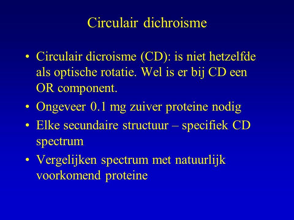 Circulair dichroisme Circulair dicroisme (CD): is niet hetzelfde als optische rotatie. Wel is er bij CD een OR component.