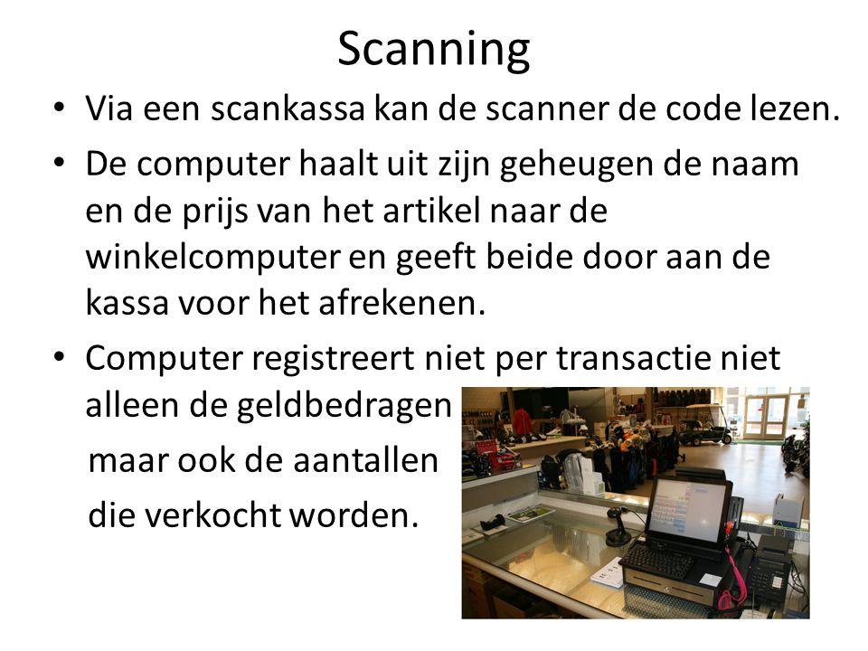 Scanning Via een scankassa kan de scanner de code lezen.