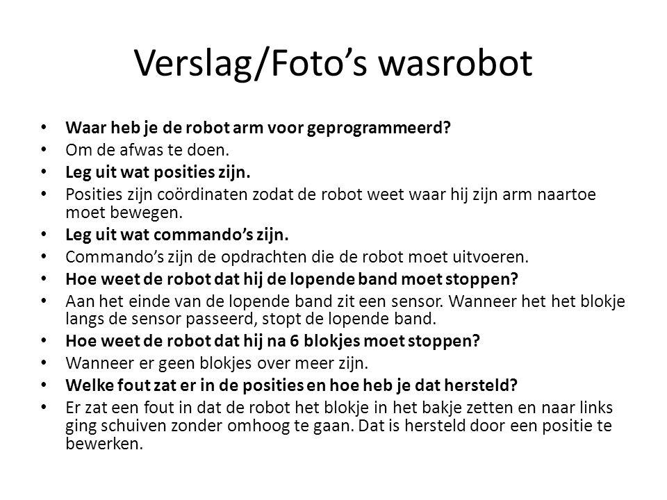 Verslag/Foto's wasrobot