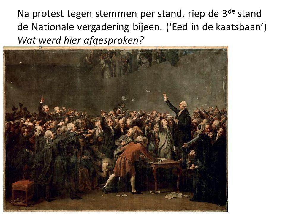 Na protest tegen stemmen per stand, riep de 3de stand de Nationale vergadering bijeen.