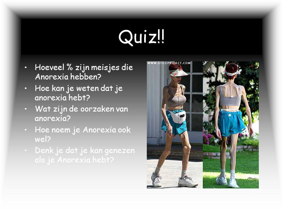Quiz!! Hoeveel % zijn meisjes die Anorexia hebben
