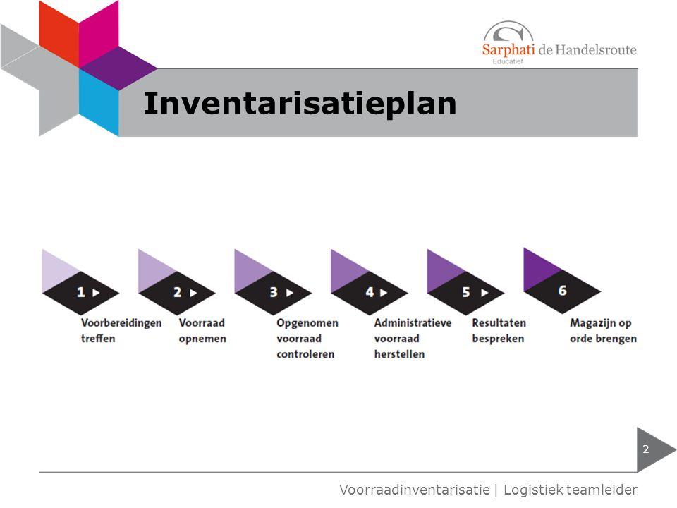 Inventarisatieplan Voorraadinventarisatie | Logistiek teamleider