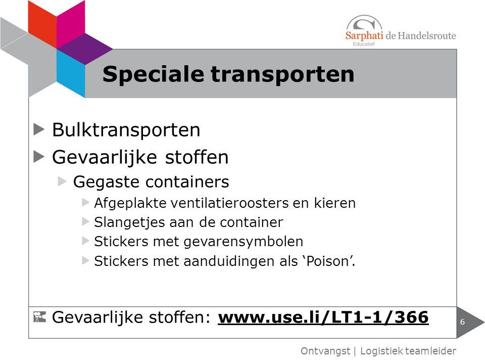 Speciale transporten Bulktransporten Gevaarlijke stoffen