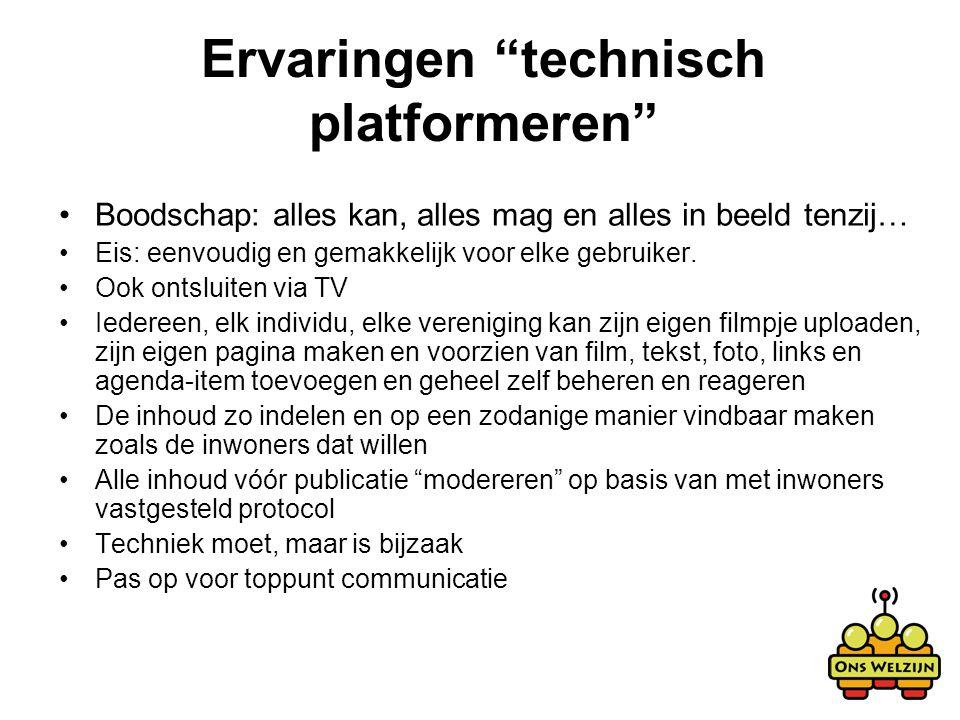 Ervaringen technisch platformeren