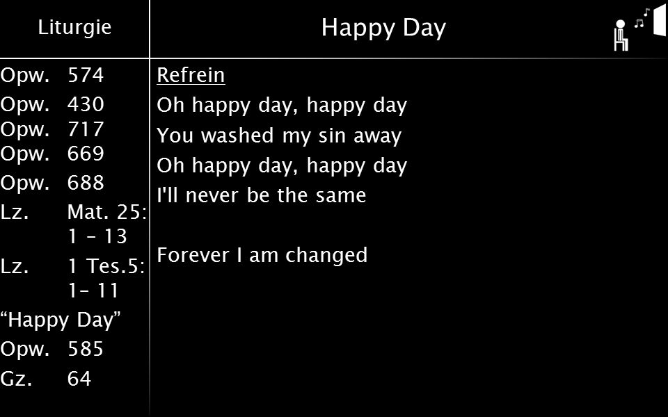Happy Day Refrein Oh happy day, happy day You washed my sin away I ll never be the same Forever I am changed