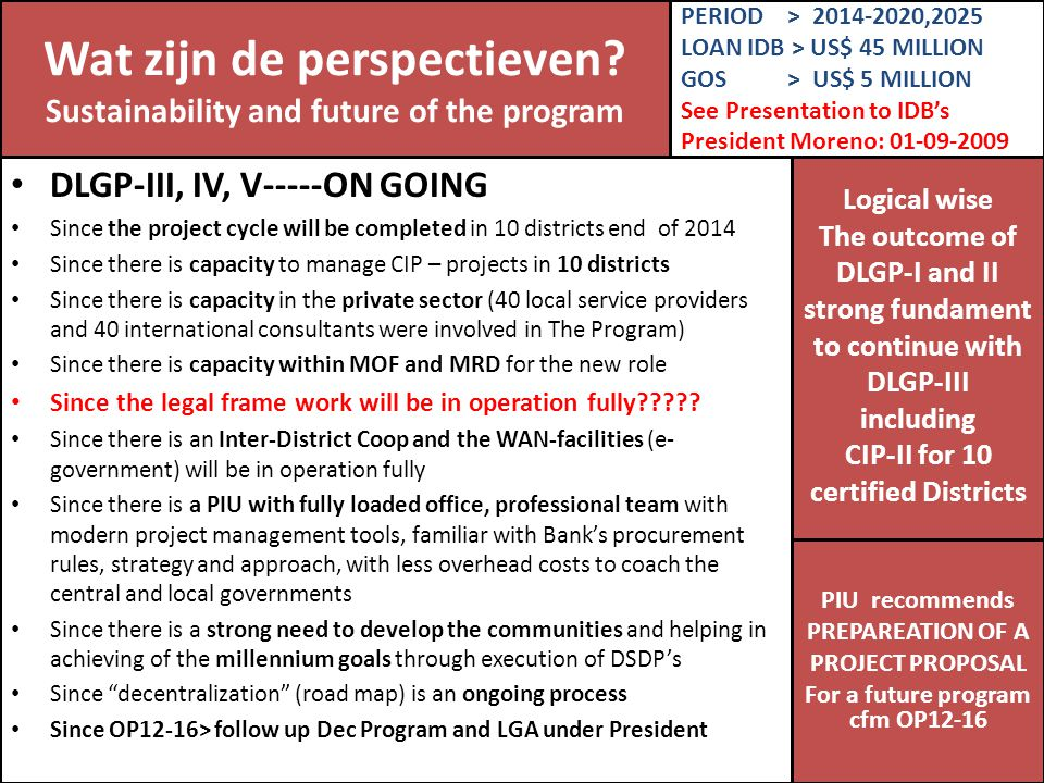 Wat zijn de perspectieven Sustainability and future of the program