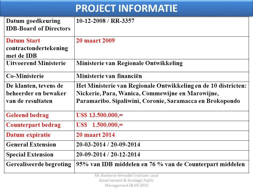 PROJECT INFORMATIE Datum goedkeuring IDB-Board of Directors