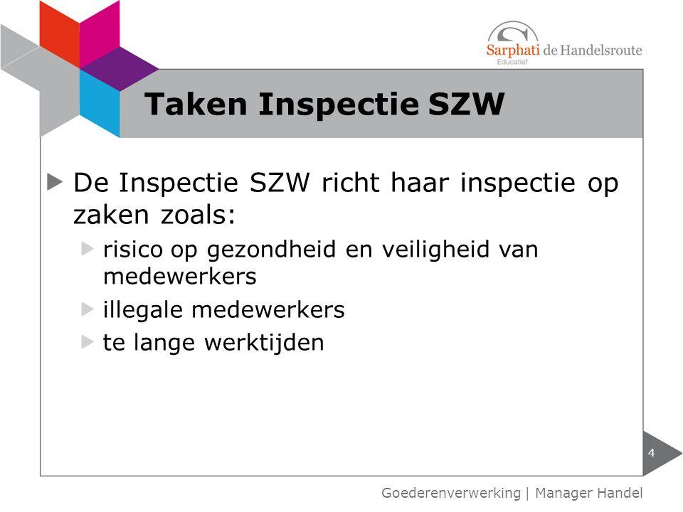Taken Inspectie SZW De Inspectie SZW richt haar inspectie op zaken zoals: risico op gezondheid en veiligheid van medewerkers.