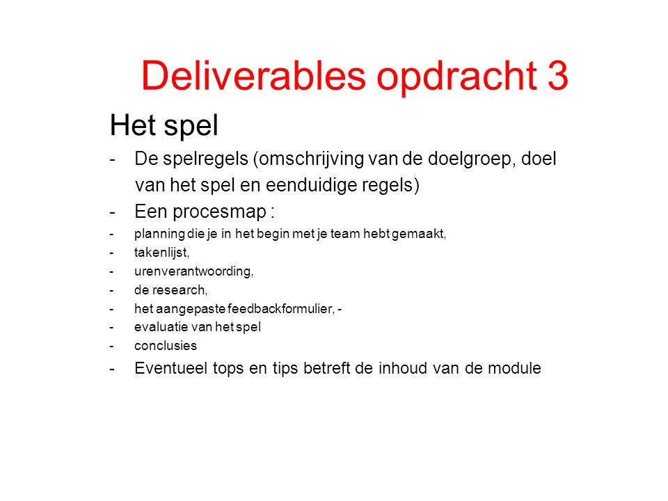 Deliverables opdracht 3