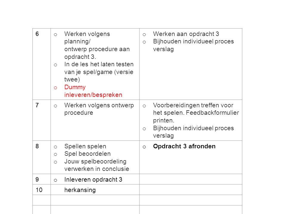 FEEST!!! 6 Werken volgens planning/ ontwerp procedure aan opdracht 3.
