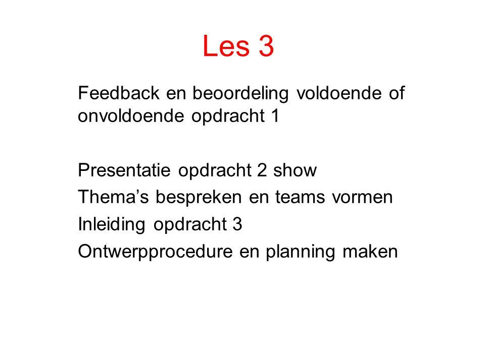 Les 3 Feedback en beoordeling voldoende of onvoldoende opdracht 1