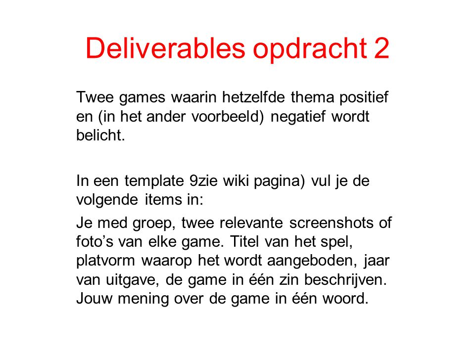 Deliverables opdracht 2