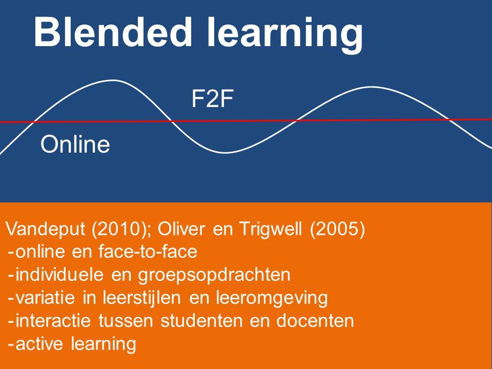 Blended learning F2F Online Vandeput (2010); Oliver en Trigwell (2005)