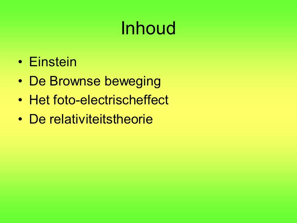 Inhoud Einstein De Brownse beweging Het foto-electrischeffect