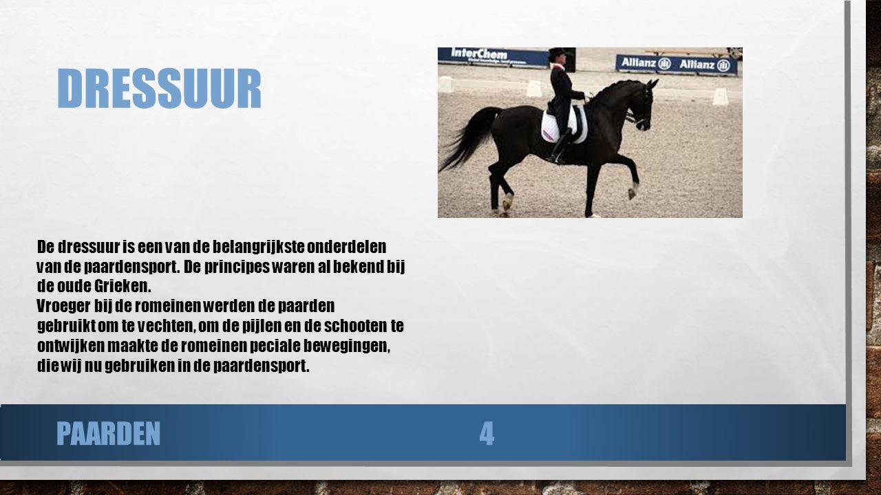 Dressuur De dressuur is een van de belangrijkste onderdelen van de paardensport. De principes waren al bekend bij de oude Grieken.