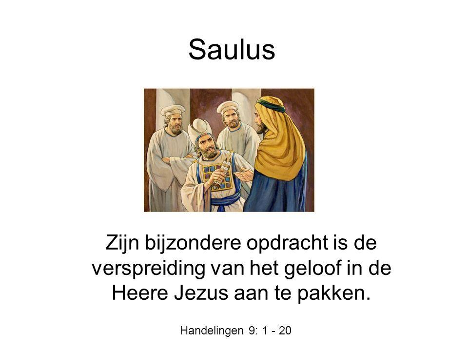 Saulus Zijn bijzondere opdracht is de verspreiding van het geloof in de Heere Jezus aan te pakken.
