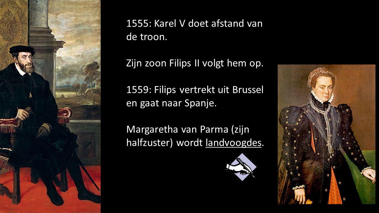 1555: Karel V doet afstand van de troon.