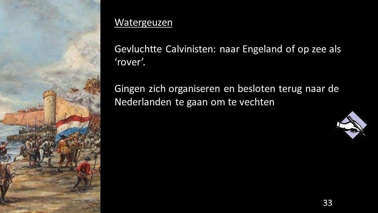 Watergeuzen Gevluchtte Calvinisten: naar Engeland of op zee als 'rover'.
